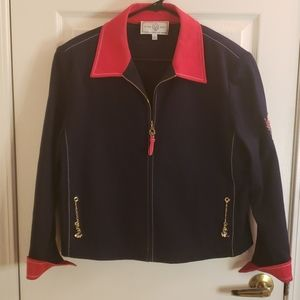 St. John Sport Jacket Nautical Red & Black Large